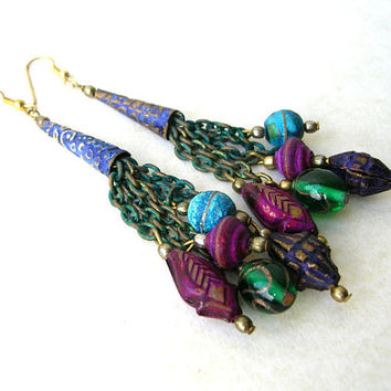 80s Bohemian Earrings, Bohemian Jewelry, Boho Earrings, Gypsy Earrings, Boho Jewelry, Tassel Earrings, Vintage 80s Earrings