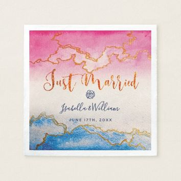 Modern Chic Gold Marble Wedding Just Married Paper Napkin