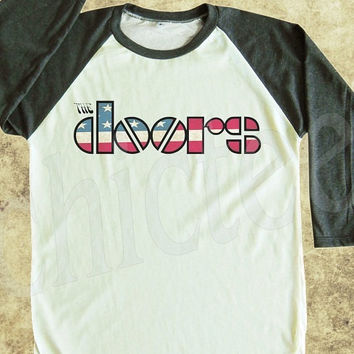 The Doors Tshirt women t shirt unisex t shirt raglan tee baseball shirt 3/4 long sleeve t shirt size S M L