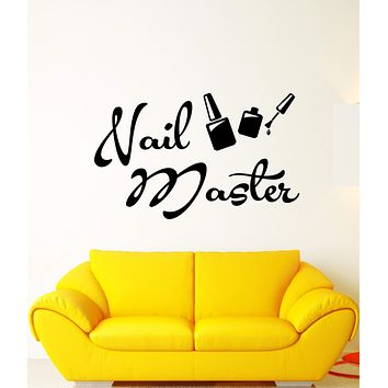 Vinyl Wall Decal Nail Master Manicure Signboard Logo Salon Stickers (2401ig)