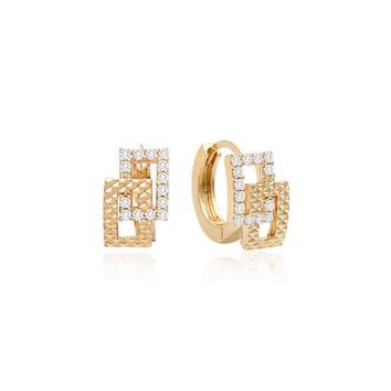 Bria Twin Square Small Hoop Crystal Earrings with 14K Gold Pin