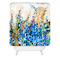 Ginette Fine Art Delphiniums Jardin Bleu Shower Curtain