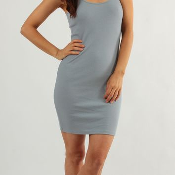 Ribbed Cotton Tank Dress
