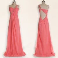 Pink prom dresses, long prom dresses, peach prom dresses, chiffon prom dress, dresses for prom, prom dresses 2014, cheap prom dress, RE305