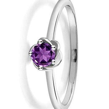 CERTIFIED 0.15 Ct 10K White Gold Purple Amethyst Solitaire Engagement Ring