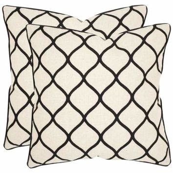 """Safavieh Eliza 18"""" x 18"""" Black Pillow, Set of 2"" 18-in"