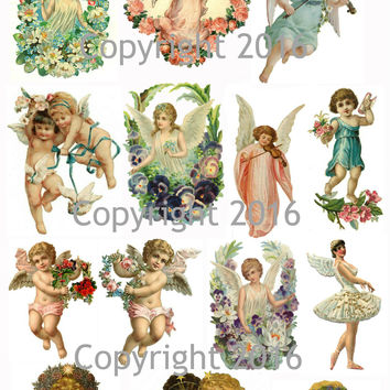 Angels and Cupids Collage Sheet for Decoupage, Altered Art, Scrapbooking