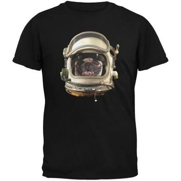 CREYCY8 Astronaut Pug Black Youth T-Shirt