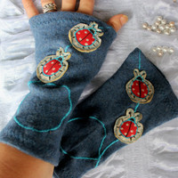 Blue fingerless gloves, Blue gloves, blue woolen gloves, arm warmers blue, blue buttoned gloves, unique products, Christmas gift option