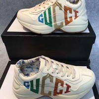 GUCCI Trending Women Fashion Print white sneaker running sport Shoes Boots GUCCI GG Flat Heel Best Quality