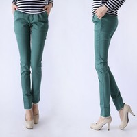 Comfortable Woven Lace Cuffed Decorated Skinny Cropped Pant 3 Colors