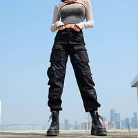 High Waisted Black Cargo Pants