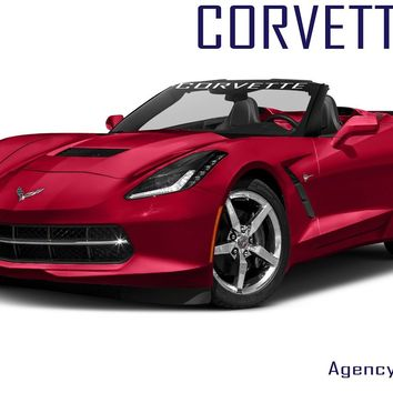 "Windshield Decal ""CORVETTE"" Banner Visor Sticker Choose Your Font"