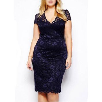 Women Sexy Casual Slim Floral Lace Sleeveless Vintage Patchwork Bandage Dress Lady Pencil Midi Work Wear Office Dress