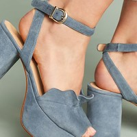 Anthropologie Ruffled Platform Heels