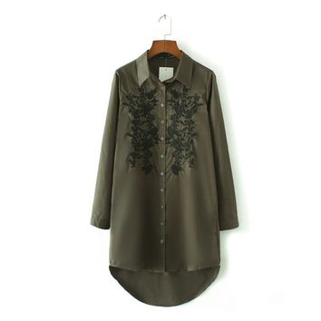 X828 fashion women vintage army green color floral embroidery long design shirt female match all blouse blouses tops
