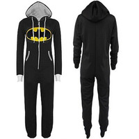 Batman Jumpsuit Playsuits Onesuit Unisex Overalls Hooded Kigurumi Cosplay Costume = 1927803908