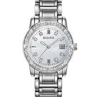 Bulova Ladies 24 Diamond Dress Marine Star - Date - White Mother of Pearl