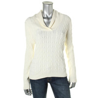 Charter Club Womens Cable Knit Shawl Collar Pullover Sweater