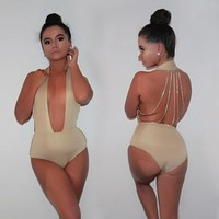 Backless sequin chain one piece