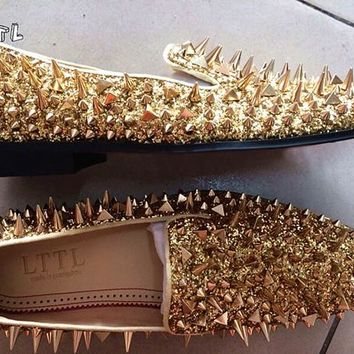 LTTL New Factory Customized Men Luxury Shiny Glitter Spikes Shoes