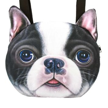 Boston Terrier Face Shaped Large Shopper Tote Shoulder Bag | Gifts for Dog Lovers