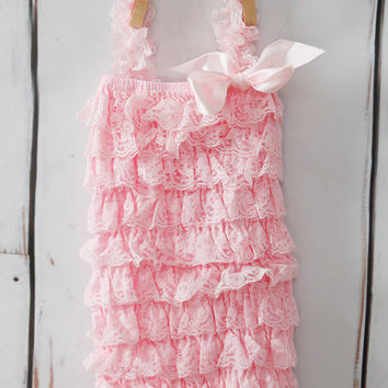 Lace Romper -   Light Pink Lace Romper - Girls Romper - Baby Romper - Ruffle Romper - Lace Dress - Baby Outfit