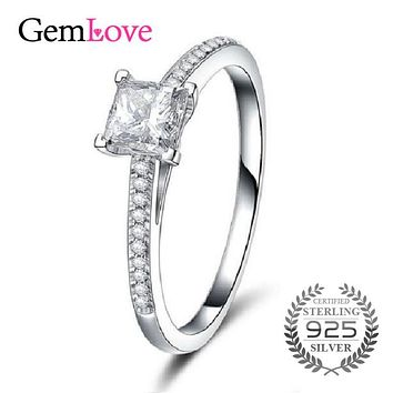 Gemlove 2017 New 925 Sterling Silver Square Spinel Cubic Zirconia Wedding Rings for Women with Box Fine Jewelry 40% LJ078