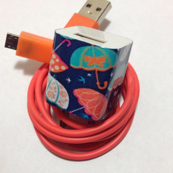 Customized cute umbrella Phone charger with personnel look in USB colors of your choice.