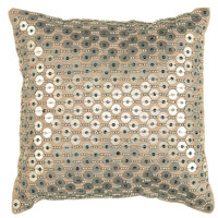 "Hand Applique of Sequins Silver Pillow Cover (12"" x 12"")"