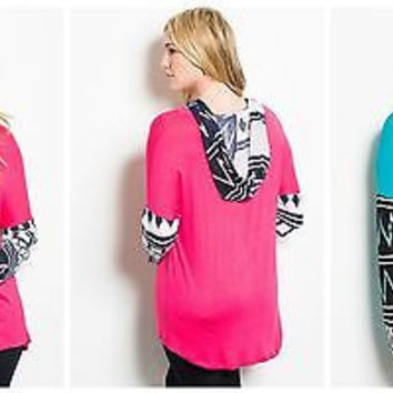 Plus Size Hooded Aztec Trim Tunic Tops 2 Colors