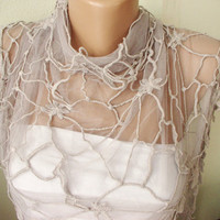 WEB Model Beige Tulle Scarf with leaf Lace by Periay on Etsy