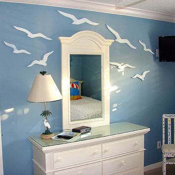 Seagull Sign Beach House Decor Huge Flock of Weathered White Seagulls Sea Birds