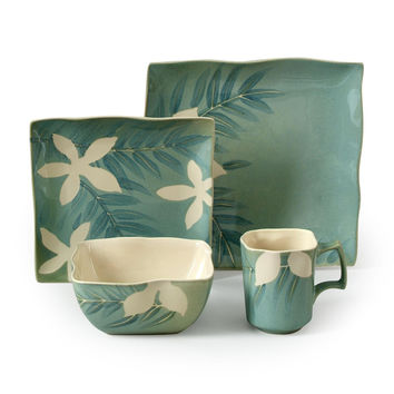 Spring Grove 16 pc Dinnerware Set, Green (Square)