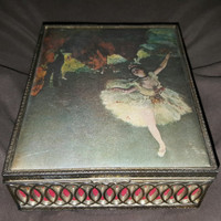 Vintage Super Rare Dancers on Stage Degas Jewlery Music Box Lined with Red Velvet Dark Silver Metal Free Shipping USA