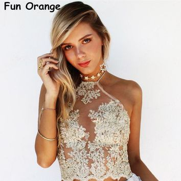Fun Orange Elegant White Lace Crop Top Summer Beach Backless Short Halter Tops Sexy Party Camis Gauze Metallic Women Tank Top