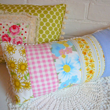 Vintage Sheet Pillow - Nursery Pillow - Chenille Pillow -  Cottage Chic Pillow - Nursery Decor