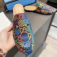 GUCCI Fashion New Multicolor More Letter Star Print Flip Flop Slippers Shoes