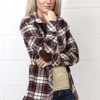 Out of the Woods Elbow Patch Plaid Flannel {Burgundy Mix}