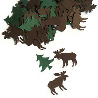 100 Moose Confetti with Pine Trees - Woodland Confetti #moose #confetti #wedding #woodland
