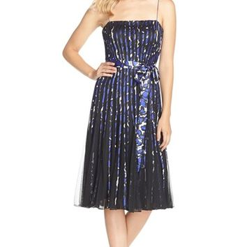 Women's JS Collections Print Satin & Mesh A-Line Dress,