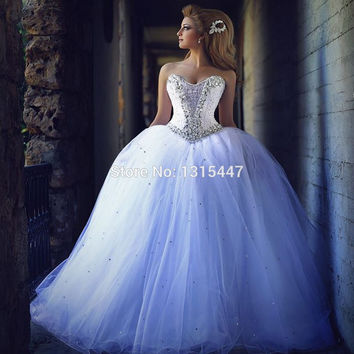 Vestido De noiva Islamic Wedding Gowns 2016 Hot Sale Arabic Sexy Women Organza Bridal Dresses Sweetheart Crystal Decorated