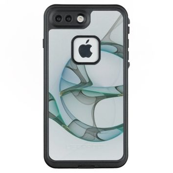 Fractal Art Blue Turquoise Gray Abstract Elegance LifeProof® FRĒ® iPhone 7 Plus Case