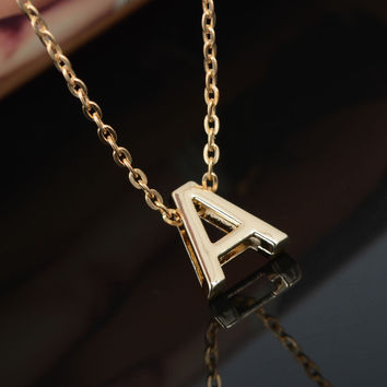 DIY 26 Letter Charm Pendant Necklace Women Simple Clavicle Chain Necklace Gold Plated Choker Colar Collier