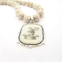 Deer Pendant Necklace White Magnesite Stone by MoonlightShimmer