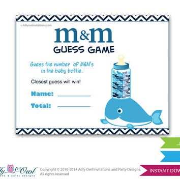 Boy Whale M&M Game, Guess How Many Game Candies in the bottle  Baby shower  Whale  Shower DIY Blue Chevron- oz08bs50