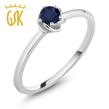 10K White Gold Ct Round Natural Blue Sapphire Solitaire Engagement Ring