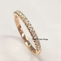 Pave Moissanite Wedding Band Half Eternity Anniversary Ring 14K Rose Gold Stackable