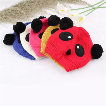 1x Hot Sale Lovely Animal Panda Baby Hats And Caps Kids Boy Girl Crochet Beanie Hats Winter Cap For Children To Keep Warm Newest
