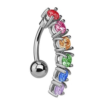 BodyJ4You Reverse Belly Ring Top Mount Rainbow CZ